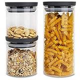 HATTY HAYS Vorratsdosen Glas | 3er-Set | 1,0 & 0,5 Liter | Vorratsbehälter lebensmittelecht | BPA frei & spülmaschinengeeignet | modernes Küchen Design | Vorratsgläser Deckel anthrazit grau