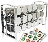 LEANDER DESIGN Gewürzregal für Küchenschrank und Arbeitsfläche I Küchen-Organizer mit 18 Gewürzgläser I Kräuter-Regal Gewürzständer auf 3 Ebenen (leer)